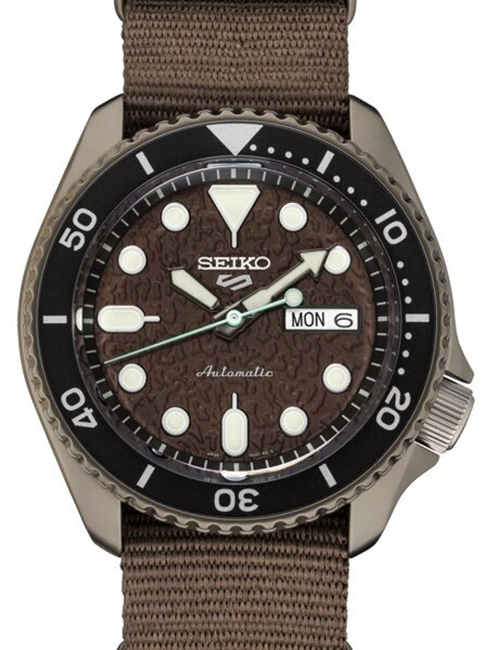 Seiko 5 Sports 24-Jewel Automatic Watch with Textured Chestnut Red Dial and Nylon Strap #SRPD85