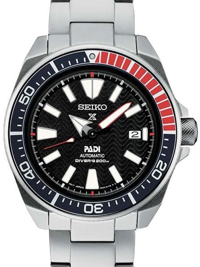 Seiko Samurai Prospex PADI Automatic Dive Watch with Stainless Steel Bracelet #SRPB99