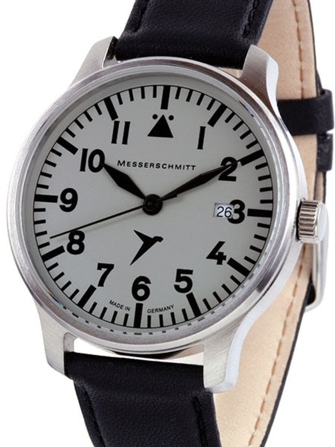 Messerschmitt Fliegeruhr Watch with Black Leather Strap #ME-42S