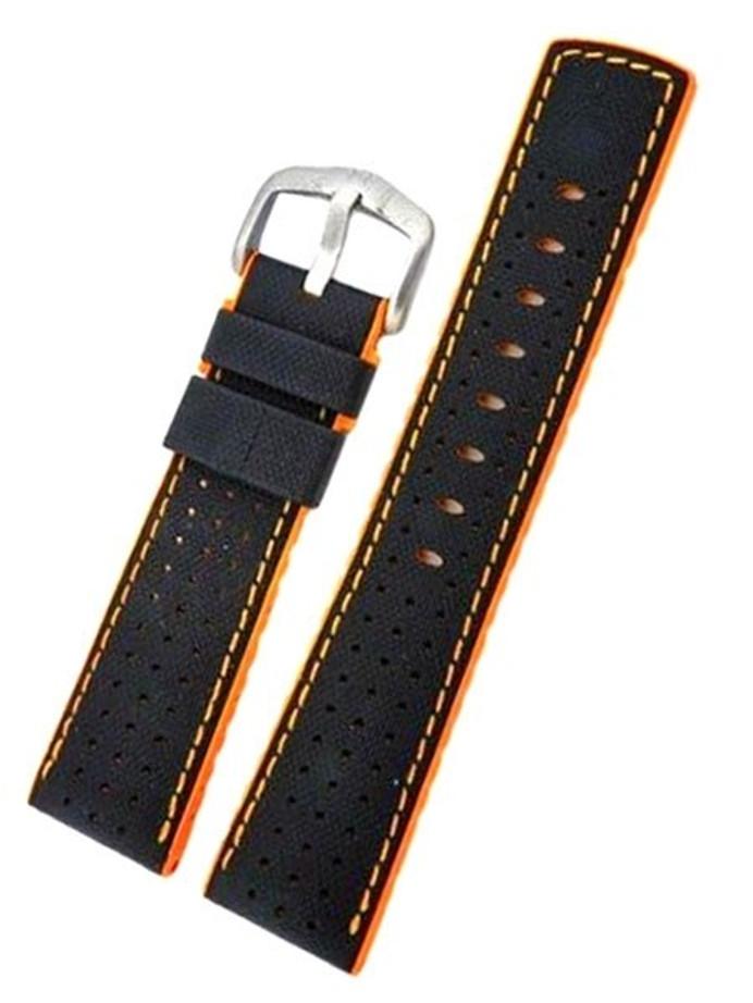 Hirsch ROBBY Sailcloth Effect Performance Watch Strap, Black and Orange #09176940-50