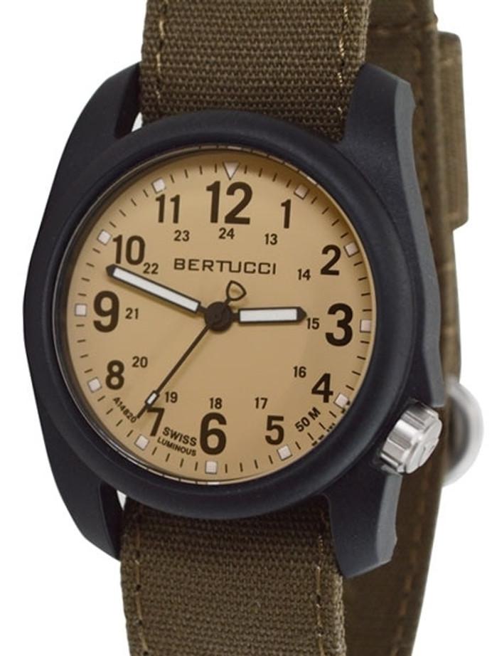 Bertucci DX3 Canvas Polycarbonate Unibody Watch, Bark Comfort Band, Patrol Khaki™ Dial - 11091