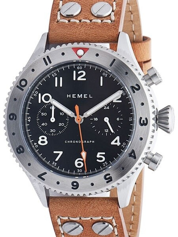 HEMEL 24 Quartz Chronograph Watch with GMT Bezel and Sapphire Crystal #HFT20-VK2