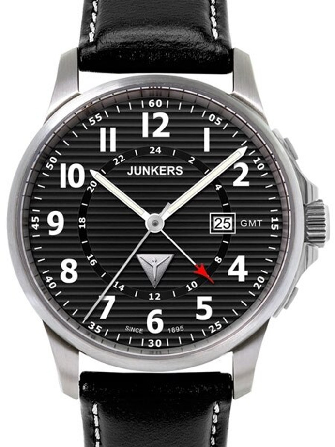 Junkers Tante JU Series GMT Watch with Corrugated Black Dial #6848-2