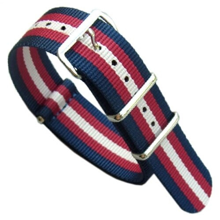 NATO-Style Blue Nylon Strap with Red and White Stripes  #NATO-12-SS