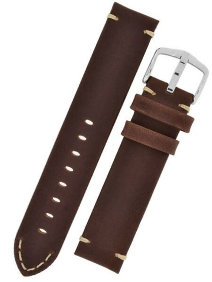 Scratch and Dent - 20mm Hirsch Ranger Brown Barrel-Dyed Leather Watch Strap #054020-10