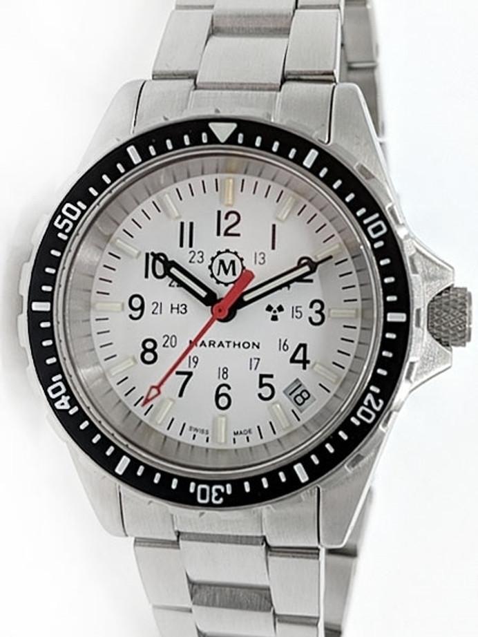 Marathon (Medium) Swiss Made, Arctic TSAR Quartz Military Divers Watch with Sapphire Crystal #WW194027Brace-NM-WD
