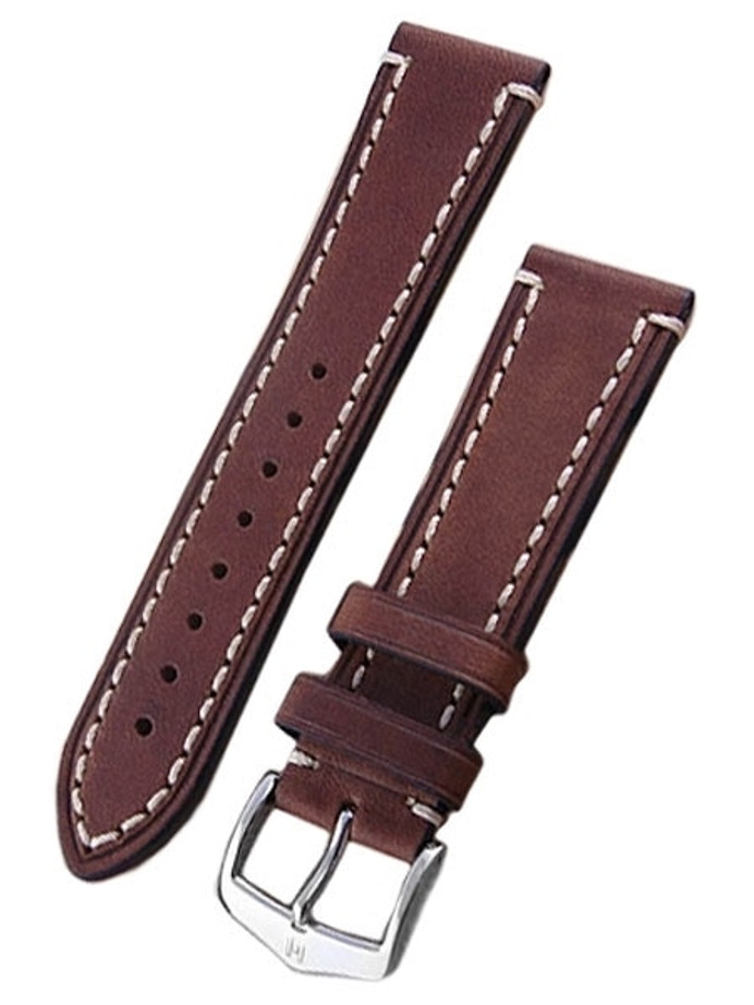 Scratch and Dent - 22mm Hirsch Liberty One Piece Brown Calf Leather Watch Strap #109002-10