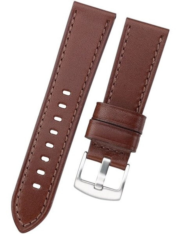 Horween Panerai-Style, Brown Calfskin Leather with Stainless Steel Buckle #INS-HORPAN02