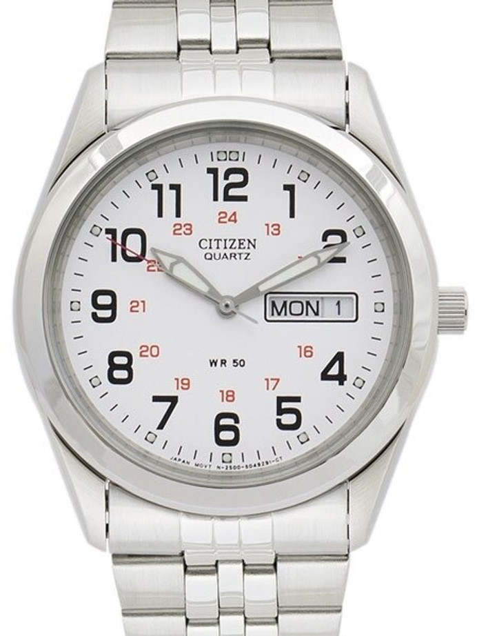 Citizen Railroad White Dial Quartz Watch with Stainless Steel Bracelet #BK3790-70A