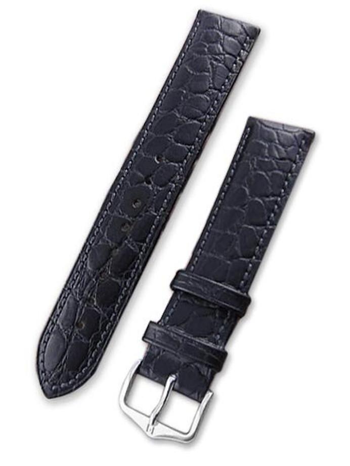 Hirsch Aristocrat Black Crocodile Embossed Leather Watch Strap #038280-50