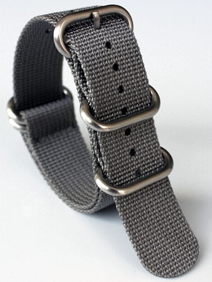 5-Ring NATO-Style Grey Nylon Strap with Matte Finish Steel Buckle #NATO5R-18-SS