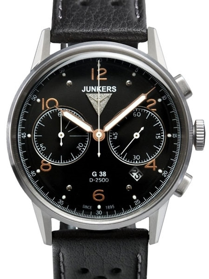 Junkers G38 Black Dial, Quartz Chronograph with 60-Minute Timer #6984-5