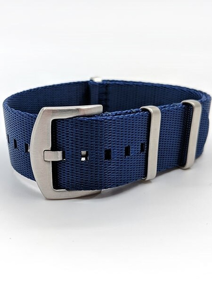 NATO-Style Royal Blue Seat Belt Weave Nylon Strap with Stainless Steel Buckle #SB-19-SS