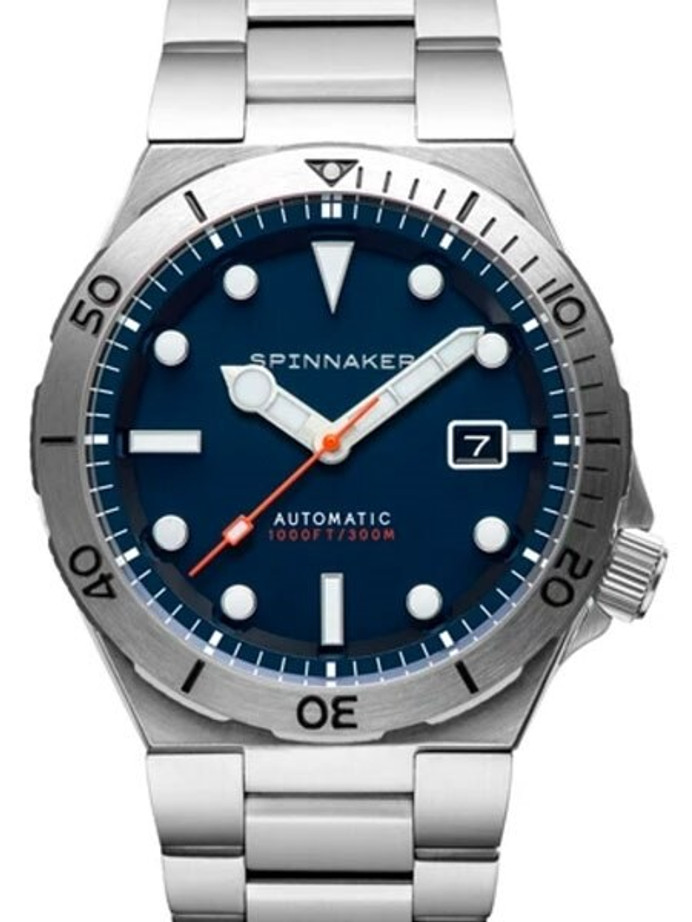 Spinnaker Boettger 300 Meter Hi-Beat Automatic Dive Watch with Stainless Steel Unique Blue Dial #SP-5083-22