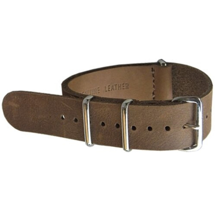 NATO-Style Brown Leather Strap with Stainless Steel Buckles  #NATO-6L-SS