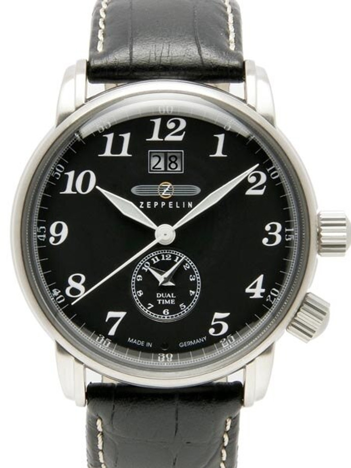 Graf Zeppelin German Made Dual Time, Big Date Watch with Two Crowns. #7644-2
