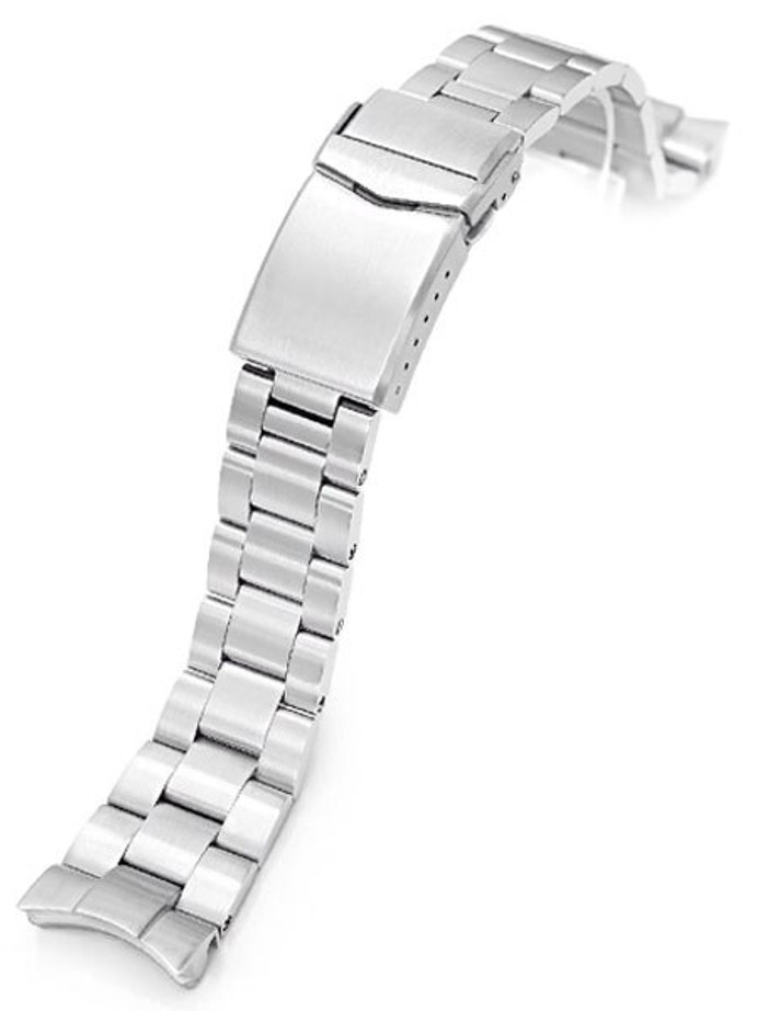 """Strapcode 22mm Super-O 3D """"Boyer"""" Stainless Steel Watch Bracelet with V-Clasp Double-Lock for Orient Neptune #SS221820B082"""