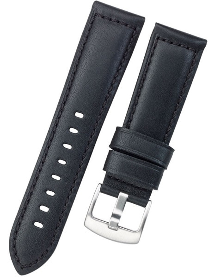 Horween Panerai-Style, Black Calfskin Leather with Thick Padding at the Lugs #INS-HORPAD01