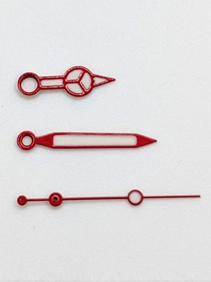 Red Mercedes Style Luminous Watch Hands For Seiko SKX007, SKX009, SKX011, SKX173, etc. Watches #H01-04