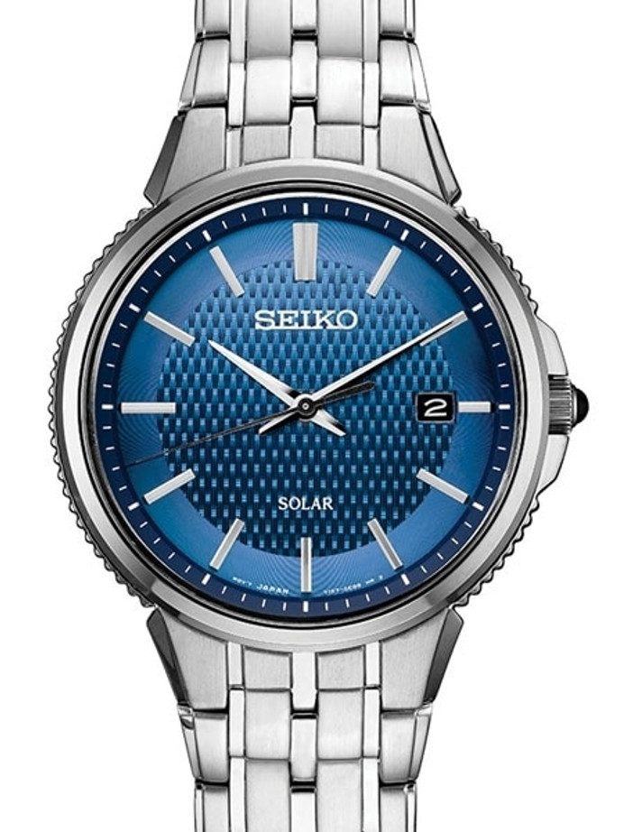 Seiko Blue Dial Solar Watch with 40mm Stainless Steel Case and Bracelet #SNE507