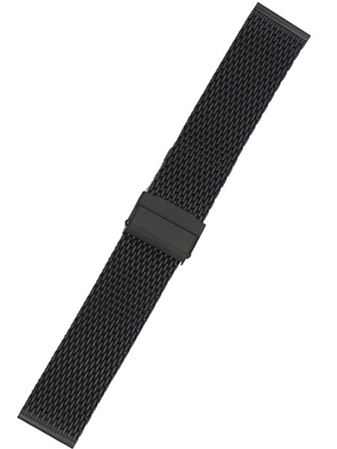 STAIB Polished Finish Black IP Milanaise Mesh Bracelet #ST-BK-2906-20812SBL (Straight End, 20mm)