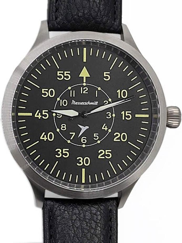 Messerschmitt Triple-X Fliegeruhr Watch with Black Leather Strap #ME-65BQ