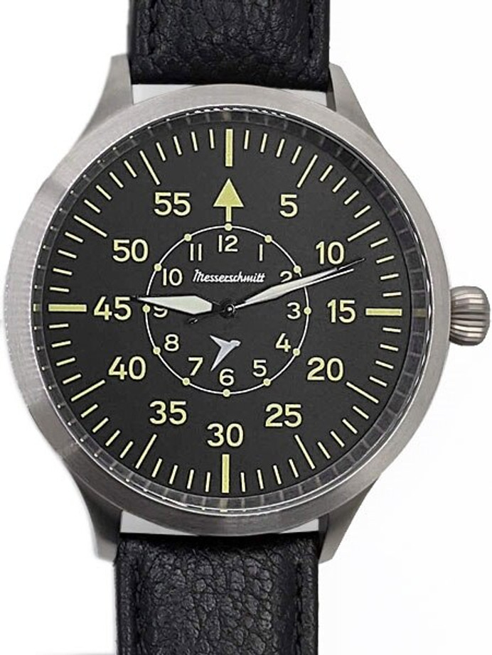 Messerschmitt Triple-X Fliegeruhr Watch with Black Leather Strap #ME-65BQ