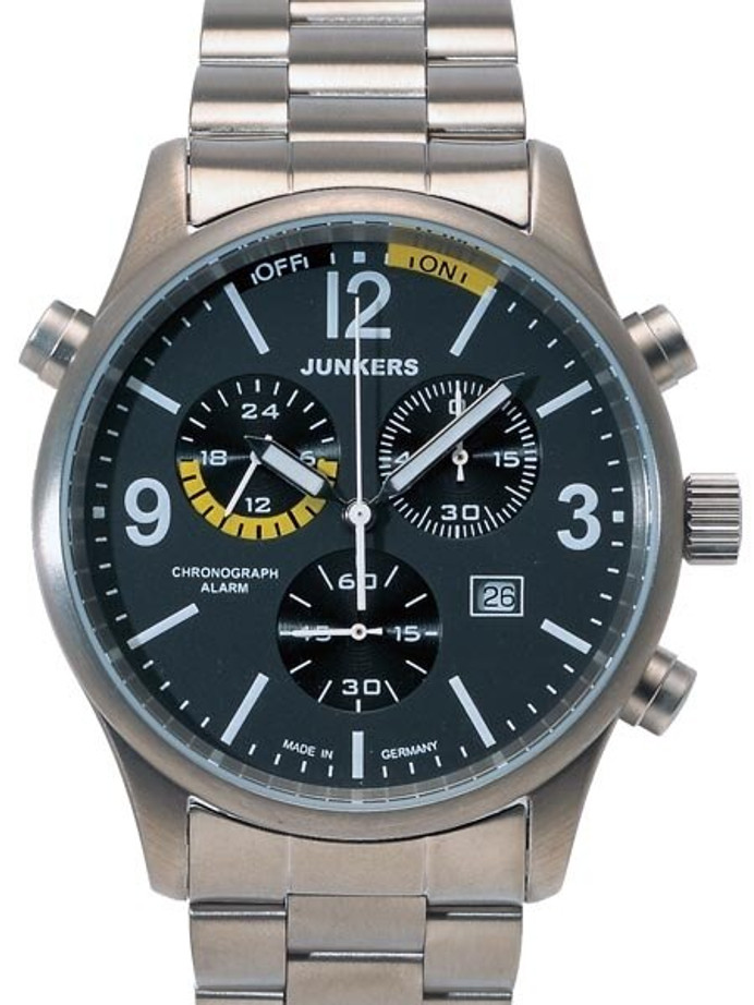 Junkers G-38 Chronograph, Titanium Case Watch with Alarm #6296M-5
