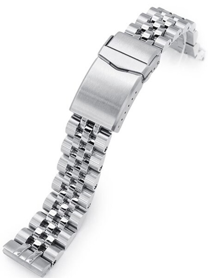 """Strapcode 20mm Angus-J """"Louis"""" Stainless Steel Watch Bracelet Seiko SBDC053 V-Clasp, Brushed #SS201820B086"""