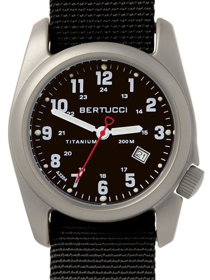 Bertucci A-2T Black Dial Titanium Watch with Black Nylon Strap #12022