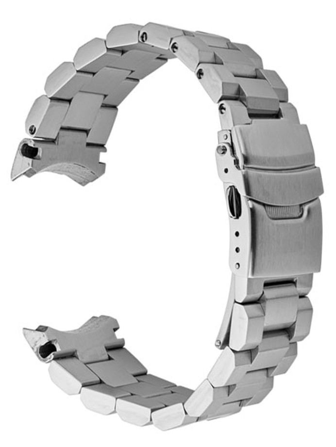 Islander 22mm Brushed Solid-Link Watch Bracelet for Islander ISL-26, 27, 28 and Seiko Samurai Watches Curved End #BRAC-02