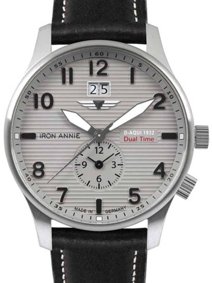 Iron Annie Big Date, Dual Time Pilot Watch with Two Crowns #5640-4