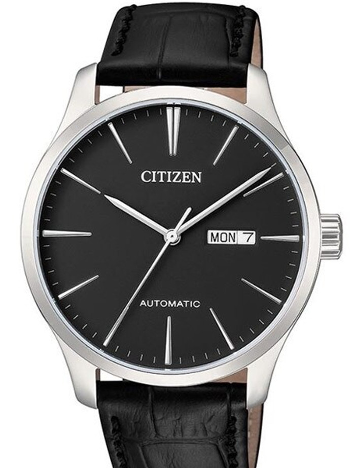 Citizen Automatic Black Dial Watch with Black Leather Strap #NH8350-08E