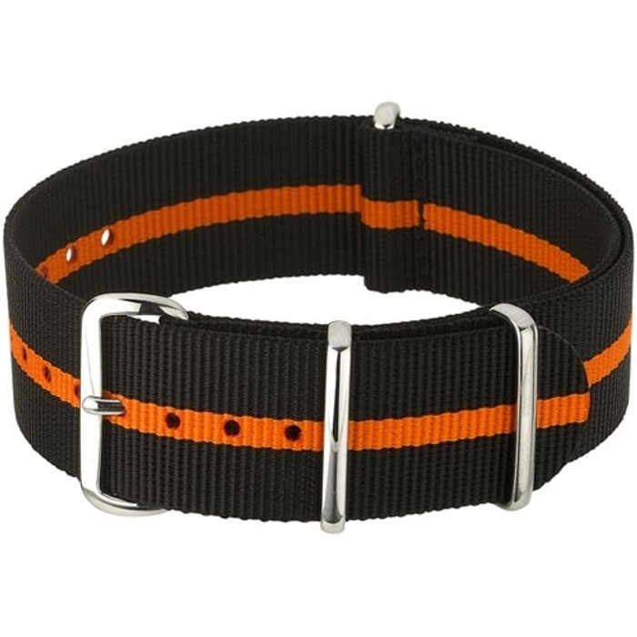 NATO-Style Black and Orange Striped Nylon Strap with Stainless Steel Buckles  #NATO-9-SS