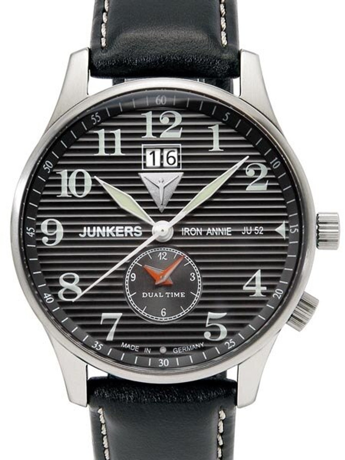 Junkers Iron Annie Big Date, Dual Time Watch with Corrugated Dial #6640-2