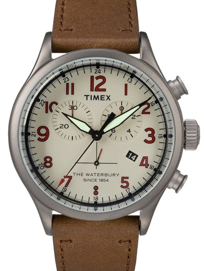 Timex 42mm Waterbury Quartz Chronograph with Cream Dial and INDIGLO Night-Light #TW2R38300VQ