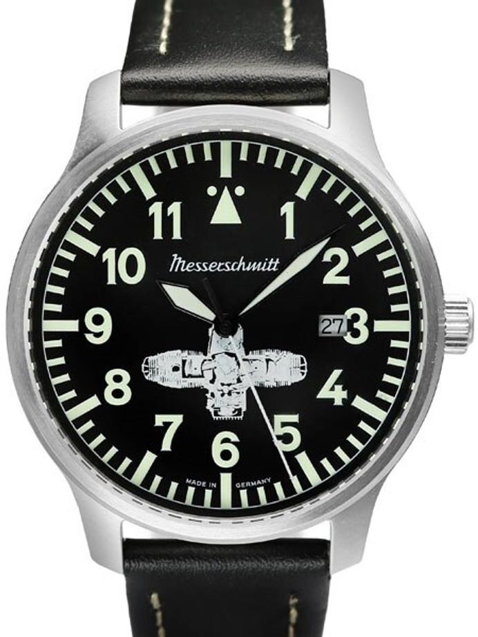 Messerschmitt Fliegeruhr Watch with Leather Strap #ME-Boxer3
