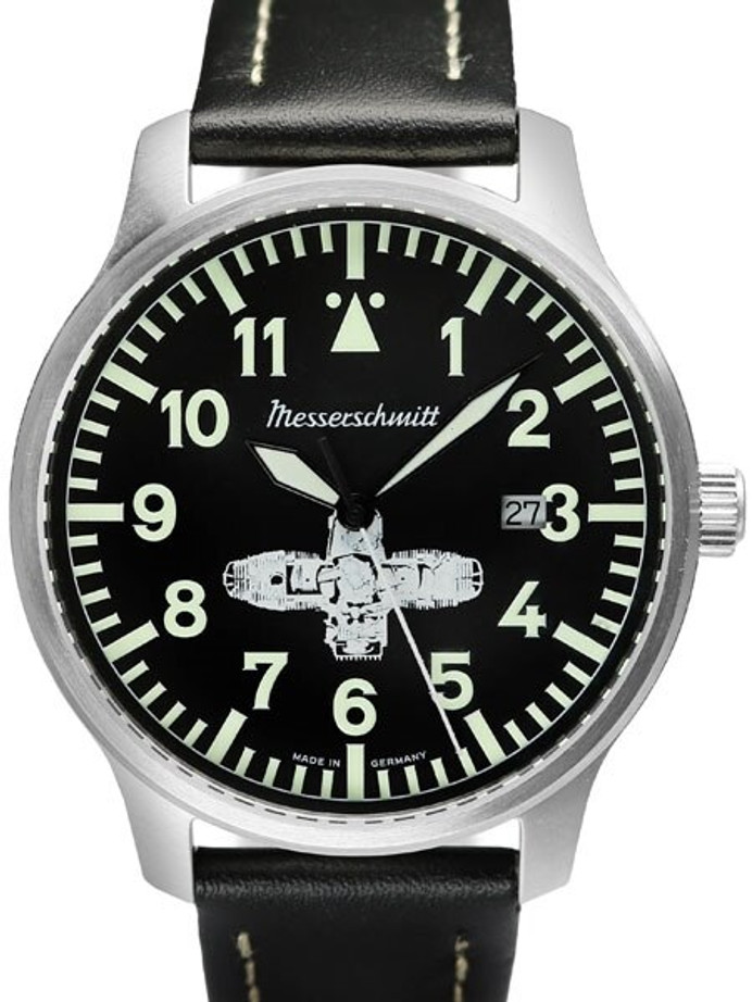 Messerschmitt Fliegeruhr Watch with Leather Strap #ME-Boxer3