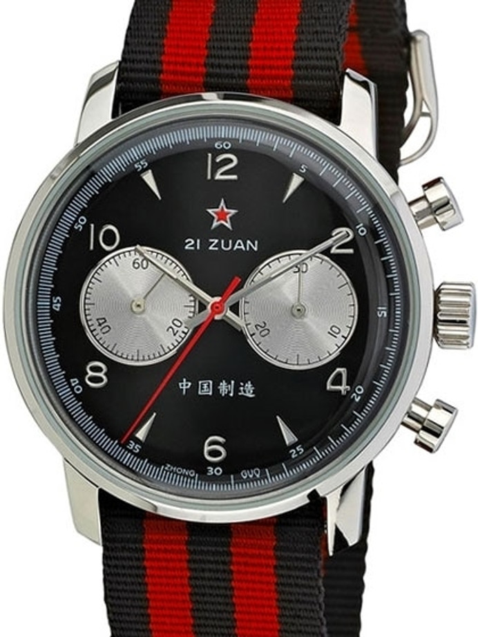 Scratch and Dent - Seagull 1963 Hand Wind Mechanical Chronograph with Black Dial #6488-2901B 3