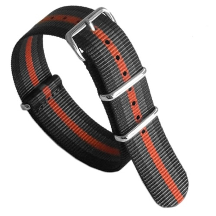 NATO-Style Black, Grey, Orange Striped Nylon Strap with Stainless Steel Buckles  #NATO-5-SS