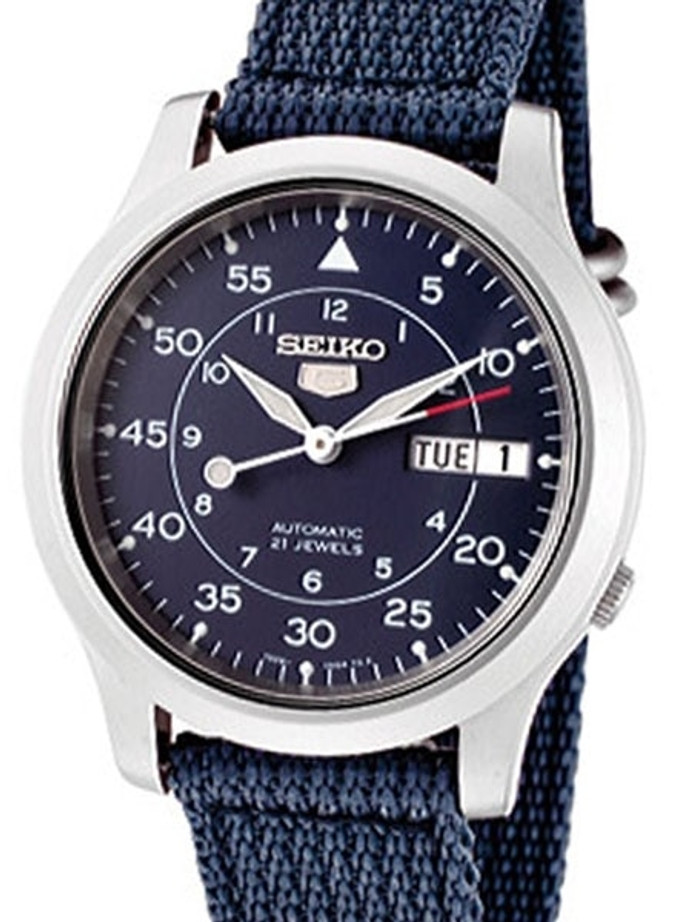 Seiko 5 Military Blue Dial Automatic Watch with Blue Canvas Strap #SNK807K2