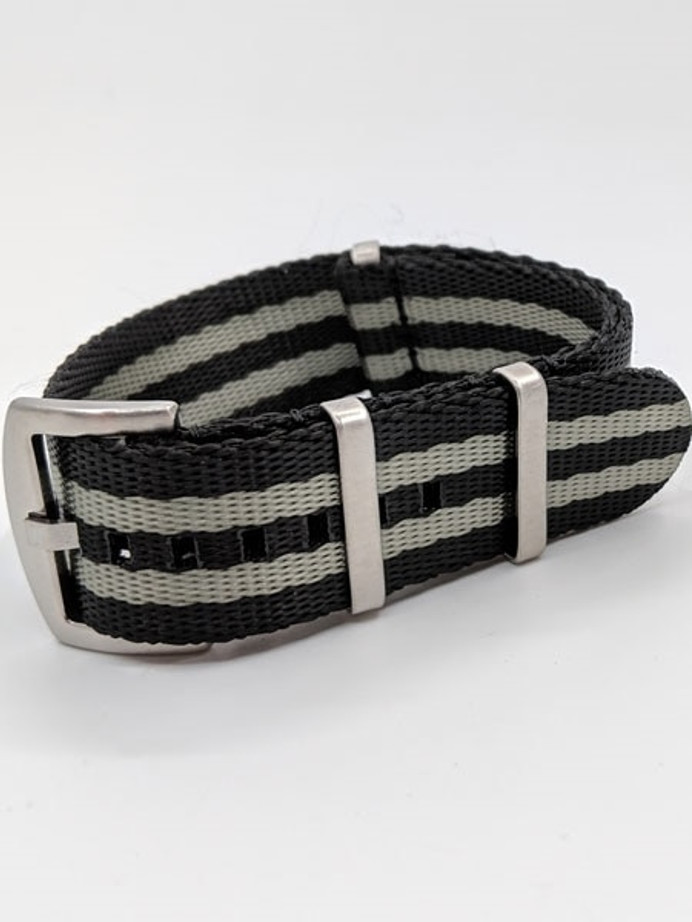 NATO-Style Black and Gray Seat Belt Weave Nylon Strap with Stainless Steel Buckle  #SB-04-SS