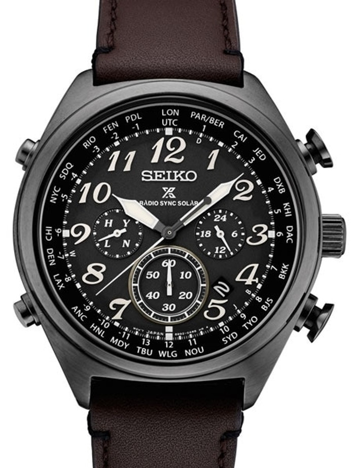 Seiko Prospex Radio Sync, Solar Powered, Chronograph, World Time Watch #SSG015