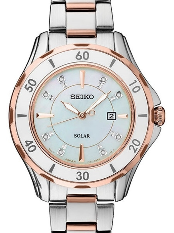 Seiko Two-Tone Women's Solar Dress Watch with MOP Dial, Rose Goltone Hands and 8 Diamond Markers #SUT340
