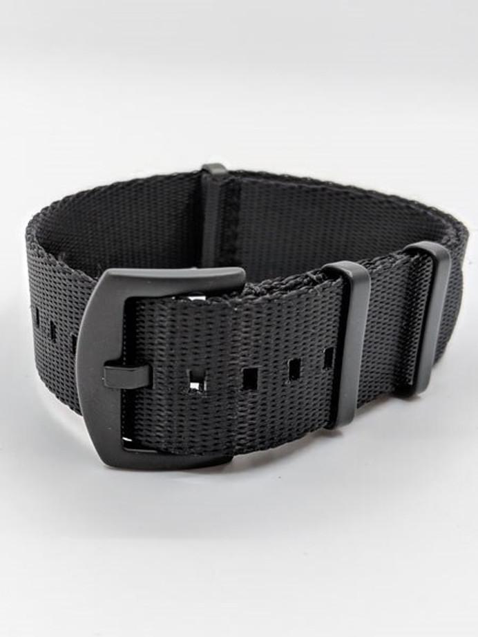NATO-Style Black Seat Belt Weave Nylon Strap with Black PVD SS Buckle #SB-10-PVD