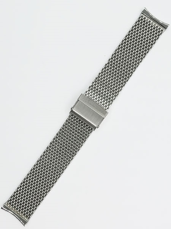 Vollmer Polished Mesh Bracelet for Orient Bambino Watches, Easy Adjust Push Buckle #13081H4C (21mm)