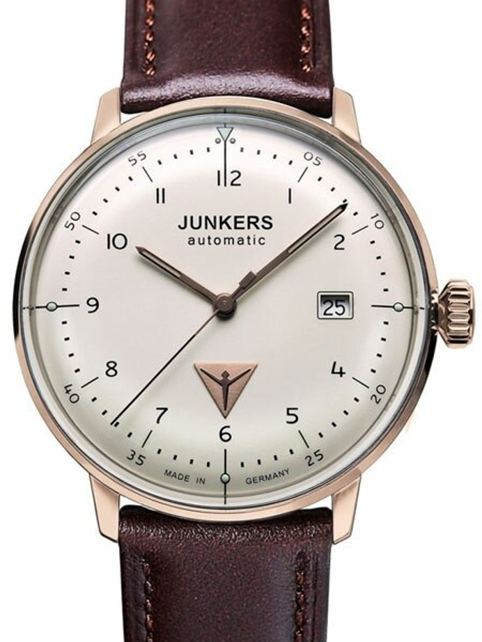 Junkers Bauhaus Swiss Automatic Watch with Domed Hesalite Crystal #6058-4