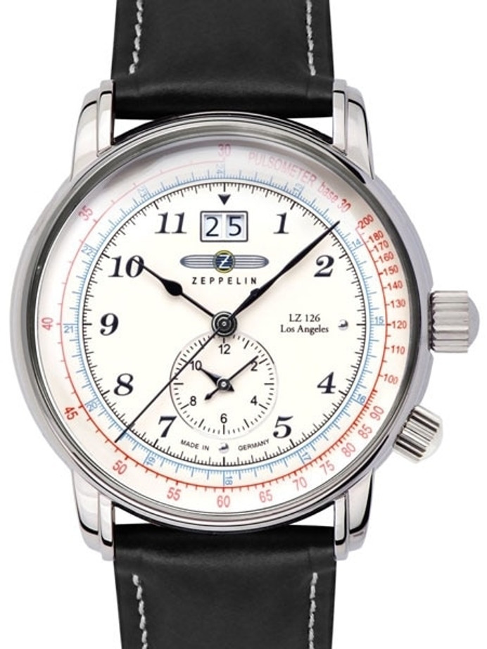 Graf Zeppelin Dual Time, Big Date Watch with Pulsometer Scale #8644-1