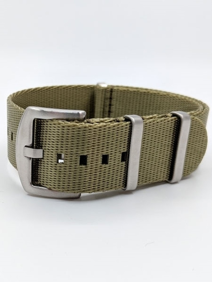 NATO-Style Forest Khaki Seat Belt Weave Nylon Strap with Stainless Steel Buckle #SB-18-SS