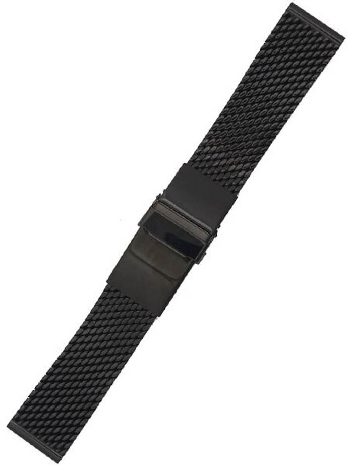 STAIB Polished Black IP Mesh Bracelet #Steel-2785-20789APB (Straight End, 22mm)